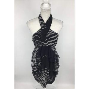 Zara black and grey strip wrap halter dress, M